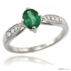 14k White Gold Natural Emerald Ring 7x5 Oval Shape Diamond Accent, 5/16inch wide