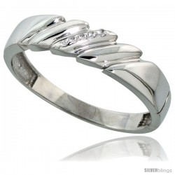 Sterling Silver Men's Diamond Wedding Band Rhodium finish, 3/16 in wide -Style Ag011mb