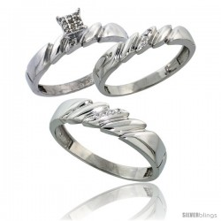 Sterling Silver Diamond Trio Wedding Ring Set His 5mm & Hers 4mm Rhodium finish