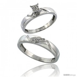 Sterling Silver 2-Piece Diamond wedding Engagement Ring Set for Him & Her Rhodium finish, 4mm & 4.5mm wide