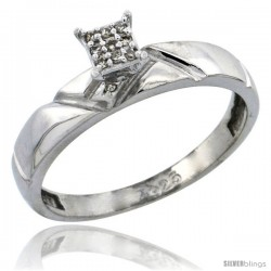 Sterling Silver Diamond Engagement Ring Rhodium finish, 5/32 in wide -Style Ag012er