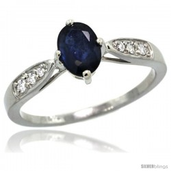 14k White Gold Natural Blue Sapphire Ring 7x5 Oval Shape Diamond Accent, 5/16inch wide
