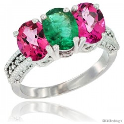 14K White Gold Natural Emerald & Pink Topaz Ring 3-Stone 7x5 mm Oval Diamond Accent