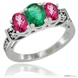 14K White Gold Natural Emerald & Pink Topaz Ring 3-Stone Oval with Diamond Accent