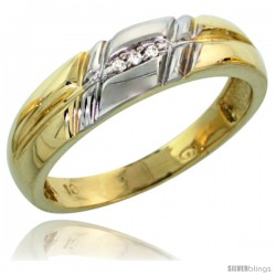 10k Yellow Gold Ladies Diamond Wedding Band Ring 0.02 cttw Brilliant Cut, 7/32 in wide -Style Ljy005lb