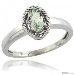 Sterling Silver Diamond Halo Natural Green Amethyst Ring 0.75 Carat Oval Shape 6X4 mm, 3/8 in (9mm) wide