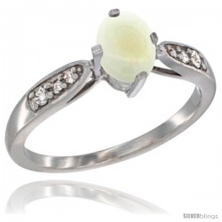 14k White Gold Natural Opal Ring 7x5 Oval Shape Diamond Accent, 5/16inch wide