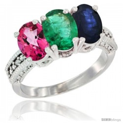 14K White Gold Natural Pink Topaz, Emerald & Blue Sapphire Ring 3-Stone 7x5 mm Oval Diamond Accent
