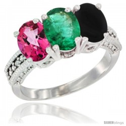 14K White Gold Natural Pink Topaz, Emerald & Black Onyx Ring 3-Stone 7x5 mm Oval Diamond Accent