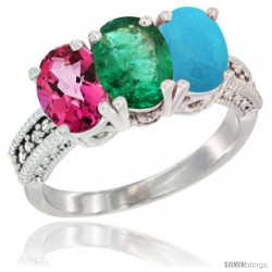 14K White Gold Natural Pink Topaz, Emerald & Turquoise Ring 3-Stone 7x5 mm Oval Diamond Accent