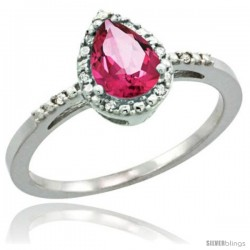 14k White Gold Diamond Pink Topaz Ring 0.59 ct Tear Drop 7x5 Stone 3/8 in wide