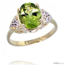10k Yellow Gold Diamond Peridot Ring 2.40 ct Oval 10x8 Stone 3/8 in wide