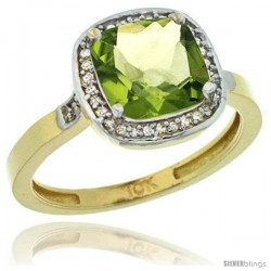 10k Yellow Gold Diamond Peridot Ring 2.08 ct Checkerboard Cushion 8mm Stone 1/2.08 in wide