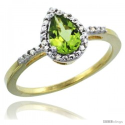 10k Yellow Gold Diamond Peridot Ring 0.59 ct Tear Drop 7x5 Stone 3/8 in wide