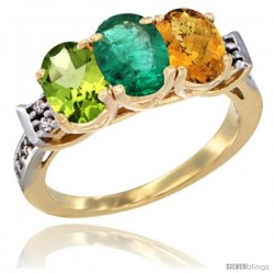 10K Yellow Gold Natural Peridot, Emerald & Whisky Quartz Ring 3-Stone Oval 7x5 mm Diamond Accent
