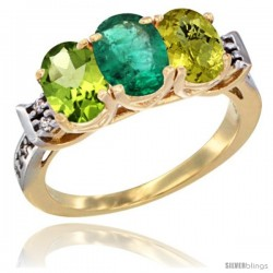 10K Yellow Gold Natural Peridot, Emerald & Lemon Quartz Ring 3-Stone Oval 7x5 mm Diamond Accent