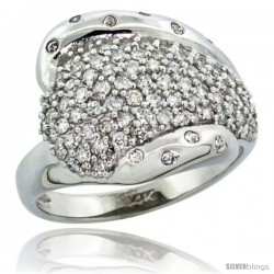 14k White Gold Dome Diamond Ring w/ 0.36 Carat Brilliant Cut ( H-I Color SI1 Clarity ) Diamonds, 5/8 in. (16mm) wide