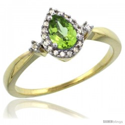 10k Yellow Gold Diamond Peridot Ring 0.33 ct Tear Drop 6x4 Stone 3/8 in wide