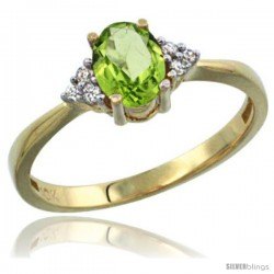 10k Yellow Gold Ladies Natural Peridot Ring oval 7x5 Stone