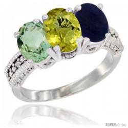 10K White Gold Natural Green Amethyst, Lemon Quartz & Lapis Ring 3-Stone Oval 7x5 mm Diamond Accent