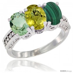 10K White Gold Natural Green Amethyst, Lemon Quartz & Malachite Ring 3-Stone Oval 7x5 mm Diamond Accent