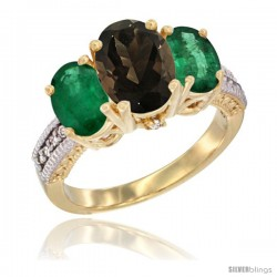 14K Yellow Gold Ladies 3-Stone Oval Natural Smoky Topaz Ring with Emerald Sides Diamond Accent