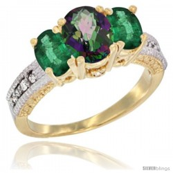 14k Yellow Gold Ladies Oval Natural Mystic Topaz 3-Stone Ring with Emerald Sides Diamond Accent