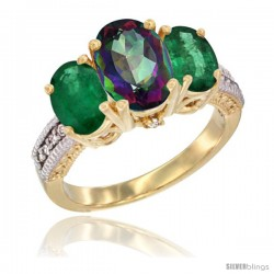 14K Yellow Gold Ladies 3-Stone Oval Natural Mystic Topaz Ring with Emerald Sides Diamond Accent