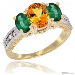 14k Yellow Gold Ladies Oval Natural Citrine 3-Stone Ring with Emerald Sides Diamond Accent