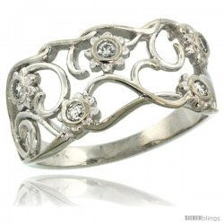14k White Gold Floral Vine Diamond Engagement Ring w/ 0.13 Carat Brilliant Cut (H-I Color SI1 Clarity) Diamonds, 7/16 in