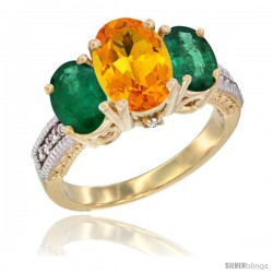 14K Yellow Gold Ladies 3-Stone Oval Natural Citrine Ring with Emerald Sides Diamond Accent