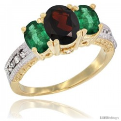 14k Yellow Gold Ladies Oval Natural Garnet 3-Stone Ring with Emerald Sides Diamond Accent