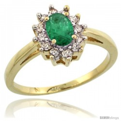 14k Yellow Gold Emerald Diamond Halo Ring Oval Shape 1.2 Carat 6X4 mm, 1/2 in wide