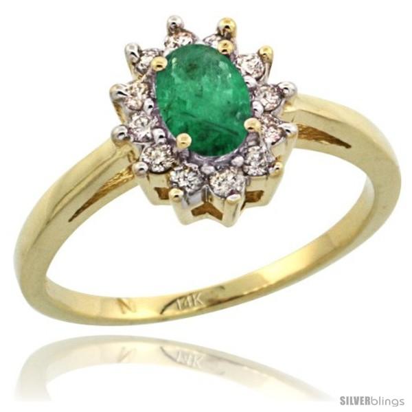 14k Yellow Gold Emerald Diamond Halo Ring Oval Shape 1 2 Carat 6X4