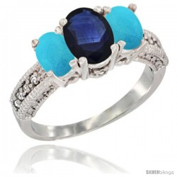 14k White Gold Ladies Oval Natural Blue Sapphire 3-Stone Ring with Turquoise Sides Diamond Accent