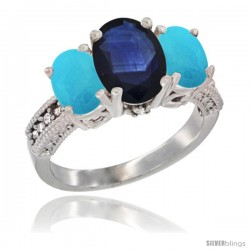 14K White Gold Ladies 3-Stone Oval Natural Blue Sapphire Ring with Turquoise Sides Diamond Accent