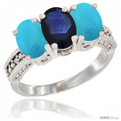 14K White Gold Natural Blue Sapphire & Turquoise Sides Ring 3-Stone 7x5 mm Oval Diamond Accent