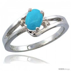14k White Gold Ladies Natural Turquoise Ring oval 6x4 Stone Diamond Accent -Style Cw418165