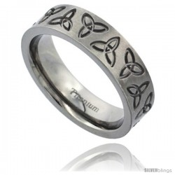 Titanium 6mm Flat Wedding Band Ring Triquetra Celtic Trinity Symbols Matte Finish Comfort-fit