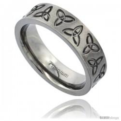 Titanium 6mm Flat Wedding Band Ring Triquetra Celtic Trinity Symbols Matte Finish Comfort-fit