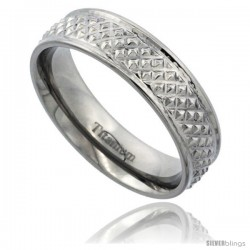 Titanium 6mm Flat Wedding Band Ring Pyramid Pattern High Polish Finish Comfort-fit