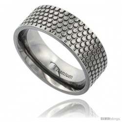 Titanium 8mm Flat Wedding Band Ring Honeycomb Pattern Polish Finish Comfort-fit