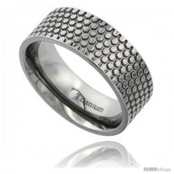 Titanium 8mm Flat Wedding Band Ring Honeycomb Pattern Polish Finish Comfort-fit