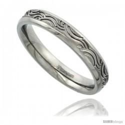 Titanium 3.8mm Flat Wedding Band / Thumb Ring Tribal Wave Pattern Matte Finish Comfort-fit