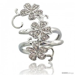 14k White Gold Floral Vine Diamond Ring w/ 0.18 Carat Brilliant Cut ( H-I Color SI1 Clarity ) Diamonds, 1 1/8 in. (28mm) wide