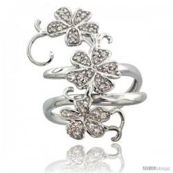 14k White Gold Floral Vine Diamond Ring w/ 0.18 Carat Brilliant Cut ( H-I Color SI1 Clarity ) Diamonds, 1 1/8 in. (28mm) wide