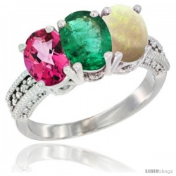 14K White Gold Natural Pink Topaz, Emerald & Opal Ring 3-Stone 7x5 mm Oval Diamond Accent