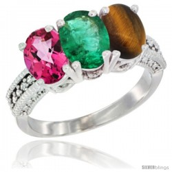 14K White Gold Natural Pink Topaz, Emerald & Tiger Eye Ring 3-Stone 7x5 mm Oval Diamond Accent