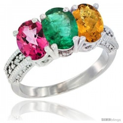14K White Gold Natural Pink Topaz, Emerald & Whisky Quartz Ring 3-Stone 7x5 mm Oval Diamond Accent