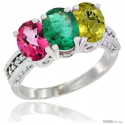14K White Gold Natural Pink Topaz, Emerald & Lemon Quartz Ring 3-Stone 7x5 mm Oval Diamond Accent